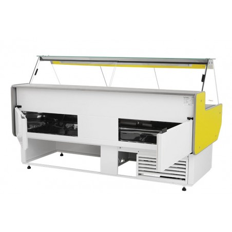 Refrigerated serve over counter with straight glass panel series L-A1