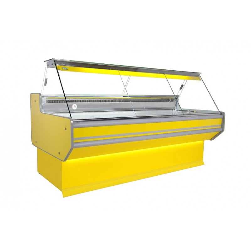 Refrigerated serve over counter with straight glass panel series L-A2