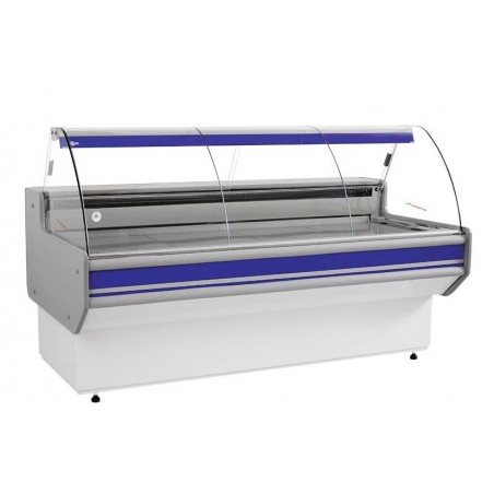 Refrigerated serve over counter with curved glass panel series L-B