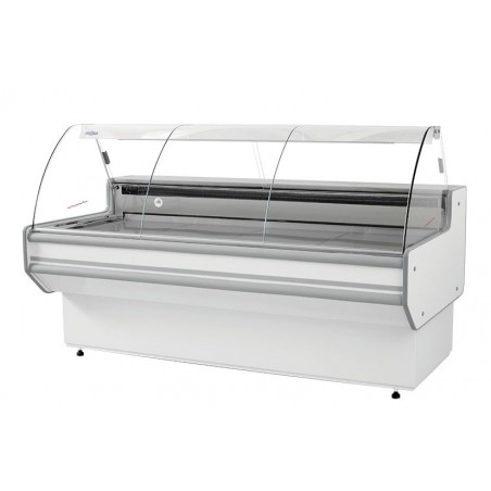 Refrigerated serve over counter with curved glass panel series L-B1