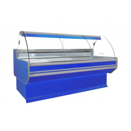 Refrigerated serve over counter with curved glass panel series L-B2