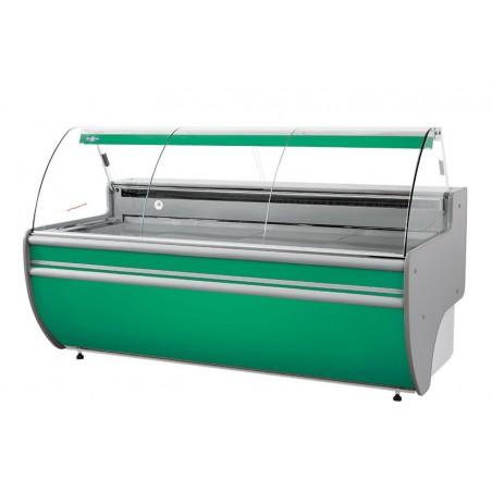 Refrigerated serve over counter with curved glass panel series L-C