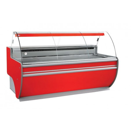 Refrigerated serve over counter with curved glass panel series L-D