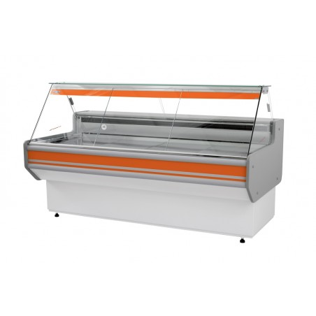 Refrigerated serve over counter with straight glass panel series L-A