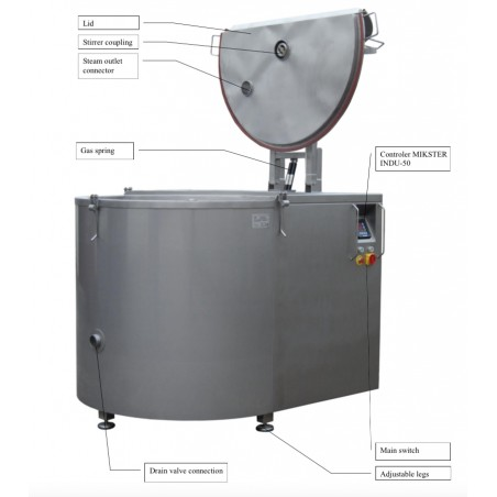 Gas Boiling Pan with mixer 300 ltr
