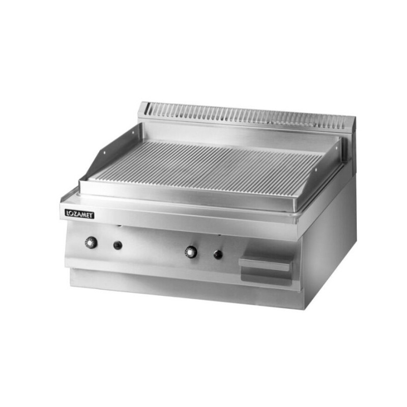 Gas Griddle with half grooved surface